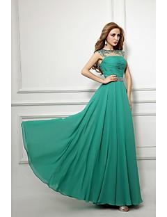 포멀 이브닝 드레스 시스 / 칼럼 보트넥 바닥 길이 쉬폰 와 비즈 / 허리끈/리본 / 루시 주름 장식