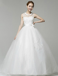Ball Gown Wedding Dress - White Floor-length Square Lace/Velvet