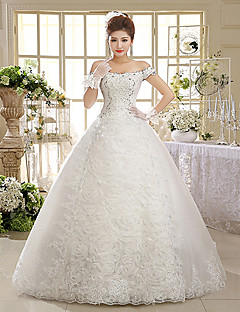 Ball Gown Wedding Dress Floor-length Off-the-shoulder Lace / Tulle with Appliques / Sequin / Beading