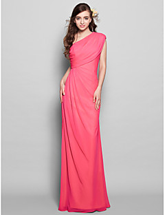 Lanting Bride® Floor-length Chiffon Bridesmaid Dress Sheath / Column One Shoulder Plus Size / Petite with Side Draping