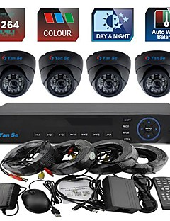 YanSe® 4CH 960H CCTV DVR Kit IR Color Waterproof Dome Security Cameras System 1000TVL 3.6MM 632CF04