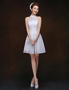 Short/Mini Bridesmaid Dress - White Sheath/Column High Neck
