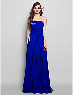 Lanting Bride® Floor-length Chiffon Bridesmaid Dress - Sheath / Column Strapless Plus Size / Petite with Side Draping / Ruching