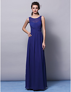 Floor-length Chiffon Bridesmaid Dress Sheath / Column Jewel Plus Size / Petite with Draping / Sash / Ribbon / Ruching