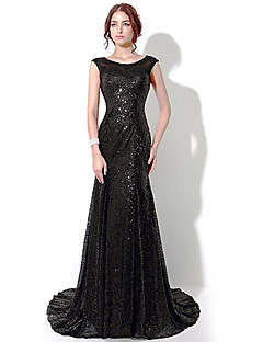 Formal Evening Dress - Black Plus Sizes / Petite Sheath/Column Bateau Floor-length / Chapel Train