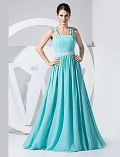 Formal Evening Dress - Lime Green A-line Straps Floor-length Chiffon