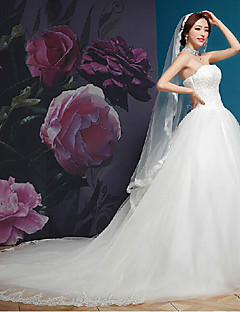 A-line Wedding Dress - White Cathedral Train Strapless Organza