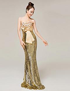 Vestido - Dourado Festa Formal Sereia Curação Longo Cetim Mate