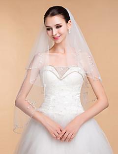 결혼식은 여성의 우아한 얇은 명주 그물 라인 석 2 층 리본 가장자리 베일 베일