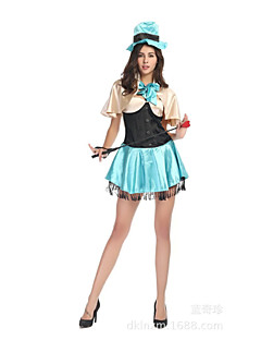 Alice's Adventures in Wonderland Mad Hatter Green Women's Carnival Party Costume