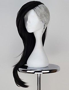 Tokyo Ghoul Uta Mask Maker Long Wavy Black with Silvery Color Anime Cosplay Wig