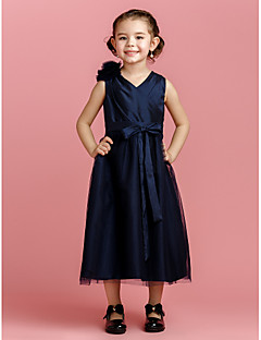 A-line Tea-length Flower Girl Dress - Taffeta/Tulle Sleeveless