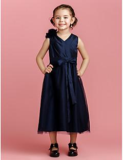 A-linje Tea-lång Flower Girl Dress - Taft/Tyll Ärmlös