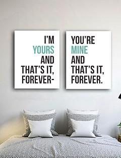 arte impressão em canvas das citações do amor romântico conjunto de 2