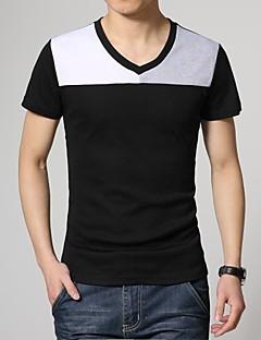 Men's Color Block Casual T-Shirt,Cotton Blend Short Sleeve-Blue / White / Gray