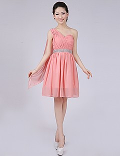 Short/Mini Bridesmaid Dress - Watermelon A-line / Princess One Shoulder