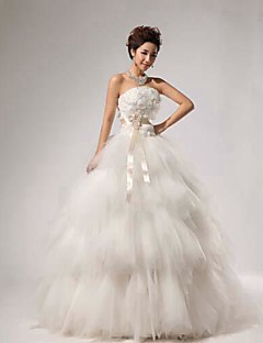Ball Gown Wedding Dress Vintage Inspired Floor-length Strapless Lace with Flower Sash / Ribbon Tiered