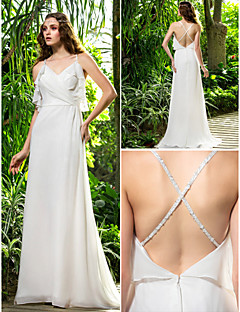 Lan Ting Sheath/Column Plus Sizes Wedding Dress - Ivory Sweep/Brush Train Spaghetti Straps Chiffon
