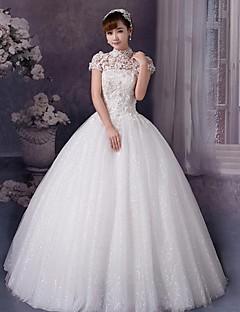 웨딩 드레스 볼 가운 바닥 길이 하이넥 튤