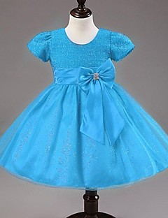 A-linje/Prinsesse - Juvel - Knælængde - Flower Girl Dress ( Satin/Tyl )