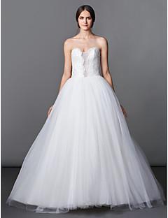 A 라인 / 공주 웨딩 드레스 - 아이보리 바닥 길이 아가 얇은 명주 그물