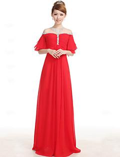 A-linje Lett-av-skulderen - Formell Aften Dress - Rød Gulvlengde Chiffon
