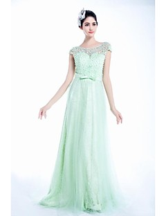 A-line Jewel Court Train Tulle Prom Dress