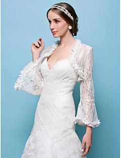 Wedding  Wraps Boleros Lace Black/White/Champagne/Beige/Red Bolero Shrug