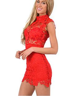 vrouwen kant rood / wit / zwarte jurk, sexy mini stand kraag mouwloze