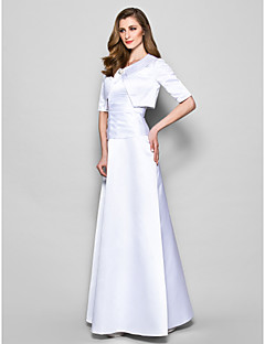 A-Line Jewel Neck Floor Length Satin Mother of the Bride Dress with Crystal Brooch Ruching by LAN TING BRIDE®