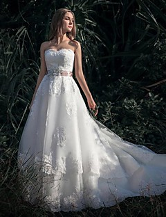 A-line Cathedral Train Wedding Dress -Sweetheart Lace
