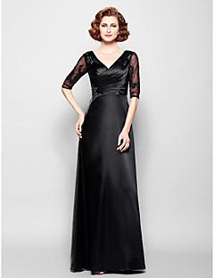 Vestido Para Mãe dos Noivos - preto Tubo/Coluna Longo Meia Manga Cetim Esticado/Renda