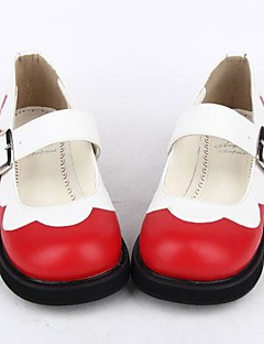 Red PU Leather 3CM Platform Sweet Lolita Shoes With Row