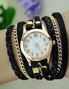 Damen Modeuhr Armband-Uhr Quartz geflochtenen Seil PU Band Vintage Böhmische Schwarz Weiß Blau Rot Braun Grün Rosa LilaBraun Rot Grün