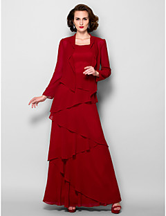 Lanting A-line Plus Sizes / Petite Mother of the Bride Dress - Burgundy Floor-length Long Sleeve Georgette