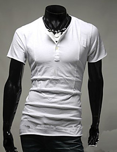 Men's Solid Casual T-Shirt,Cotton Short Sleeve-Black / Blue / White / Gray