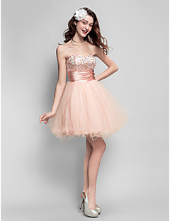 robe de cocktail de retour - perle boule rose de robe de fiancée mini court Tulle /