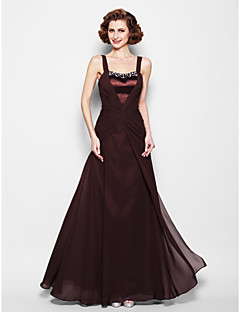 A-line Mother of the Bride Dress - Chocolate Floor-length Sleeveless Chiffon/Satin