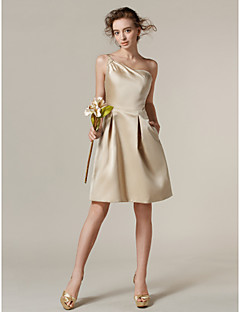 Lanting Bride® Knee-length Satin Bridesmaid Dress A-line One Shoulder Plus Size / Petite with Pockets / Side Draping