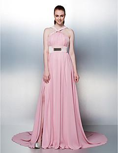 Prom / Formal Evening / Holiday Dress - Blushing Pink Plus Sizes / Petite A-line Straps Chapel Train Chiffon