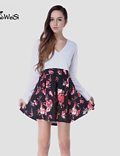 NUO WEI SI®  Women's Cut Flowers V Neck Long Sleevless Dress