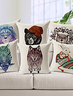 ensemble de six animaux de style moderne à motifs coton / lin taie d'oreiller décoratif