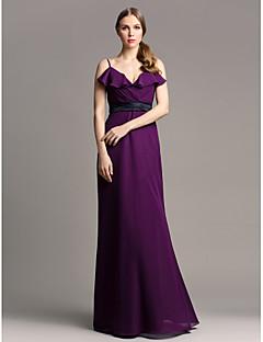 Floor-length Chiffon Bridesmaid Dress - Grape Plus Sizes / Petite Sheath/Column Spaghetti Straps
