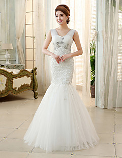 Princess/Ball Gown Wedding Dress - Ivory Floor-length Straps Tulle