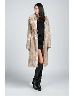 abrigos de piel de imitación de las chaquetas de piel de manga larga de piel falsa negro / almendra