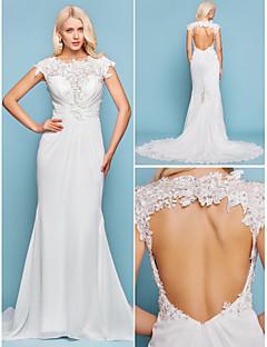 Lanting Bride Trumpet/Mermaid Petite / Plus Sizes Wedding Dress-Court Train Jewel Chiffon
