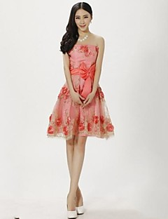 Wedding Party Dress A-line Strapless Knee-length Lace Dress