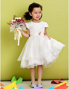 꽃의 소녀 드레스 - A라인 짧은 소매 티 길이 폴리에스터
