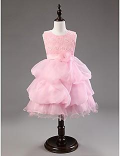 Ball Gown Knee-length Flower Girl Dress - Cotton/Organza Sleeveless