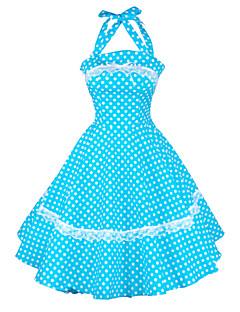 マギー唐女性のホルター50代ヴィンテージ水玉模様の主婦ロカビリースイングドレス、プラスサイズ